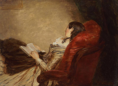 Sketch Of The Artists Wife Asleep Poster by William Powell Frith