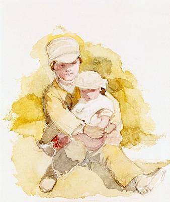 Sketch Of Two Children, C.1852 Poster by Richard Redgrave