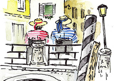 Sketching Italy Two Gondoliers In Venice Poster by Irina Sztukowski