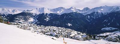 Ski Resort With Mountain Range Poster