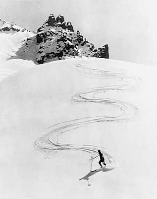 Ski Trail Down A Mountain Poster by Underwood Archives