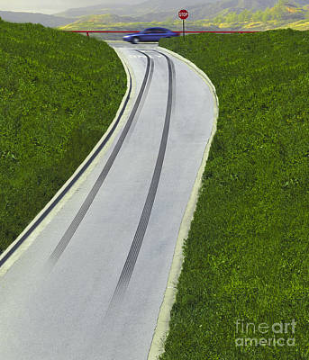 Skid Marks On Exit Ramp Poster