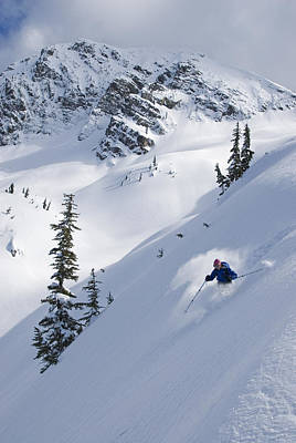 Skier Hitting Powder Below Nak Peak Poster by Kurt Werby