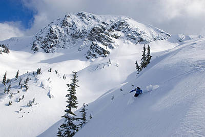Skier Shredding Powder Below Nak Peak Poster by Kurt Werby