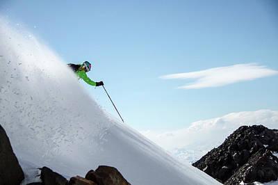 Skiier In Cajon Grande, Argentina Poster