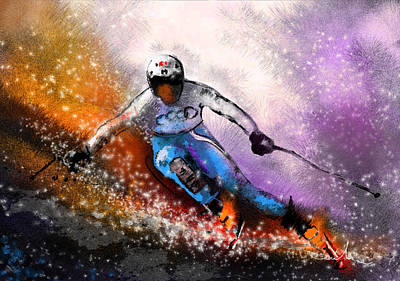 Skiing 02 Poster by Miki De Goodaboom