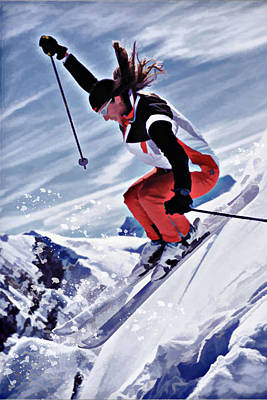 Skiing Down The Mountain In Red Poster by Elaine Plesser