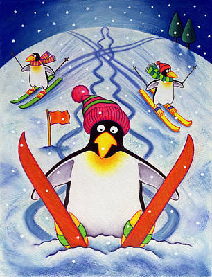 Skiing Holiday Poster by Cathy Baxter