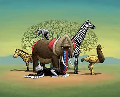 Poster featuring the digital art Strange Safari by Ben Hartnett
