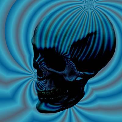 Skull Aura Blue Poster by Jason Saunders