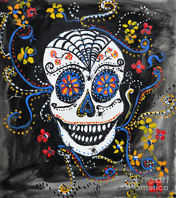 Skull Flowers Poster by Ismeta Gruenwald
