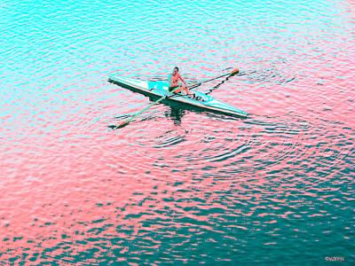 Skulling Boat At Sunset Poster by Rebecca Korpita