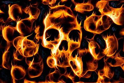 Skulls Of Fire Poster by Ian Hufton