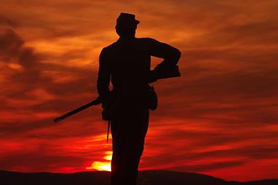 Sky Fire - 111th New York Infantry Hancock Avenue Brian Farm Cemetery Ridge Sunset Winter Gettysburg Poster