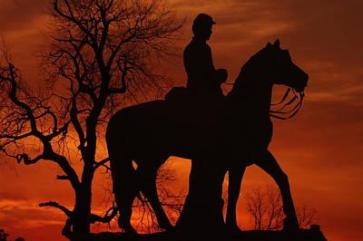 Sky Fire - 8th Pennsylvania Cavalry Regiment Pleasonton Avenue Sunset Autumn Gettysburg Poster by Michael Mazaika