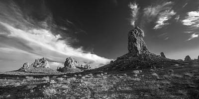 Sky Masters - Trona Pinnacles - Black And White Poster by Peter Tellone