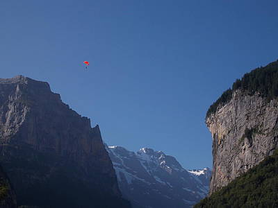 Skydiver Over Lauterbrunnen Poster