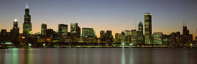 Skyline At Dusk Chicago Il Usa Poster by Panoramic Images