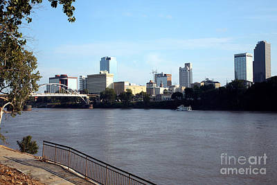Skyline Of Little Rock Over Water Poster by Bill Cobb