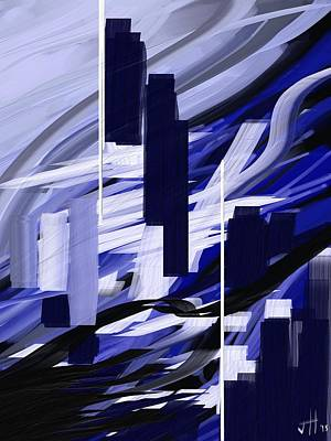 Poster featuring the painting Skyline Reflection On Water by Jennifer Hotai