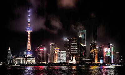 Skylines Lit At Night, Oriental Pearl Poster