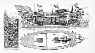 Slave Ship Plan Showing Slaves In Hold Poster