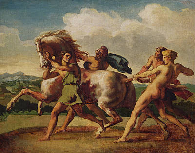Slaves Stopping A Horse, Study For The Race Of The Barbarian Horses, 1817 Oil On Canvas Poster by Theodore Gericault