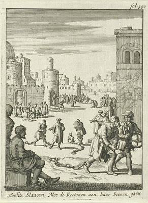 Slaves Walk With Chains On Their Ankles, Jan Luyken Poster by Jan Luyken And Jan Claesz Ten Hoorn