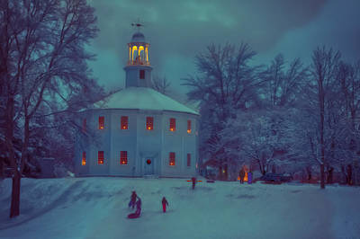Sledding At The Old Round Church Poster by Jeff Folger