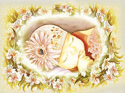 Poster featuring the painting Sleeping Baby Vintage Dreams by Irina Sztukowski