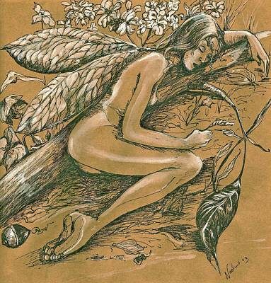 Poster featuring the drawing Sleeping Faery by Nadine Dennis