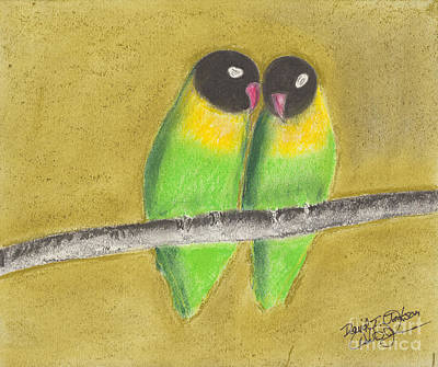 Poster featuring the pastel Sleeping Love Birds by David Jackson