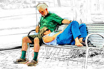 Sleeping On A Park Bench Poster