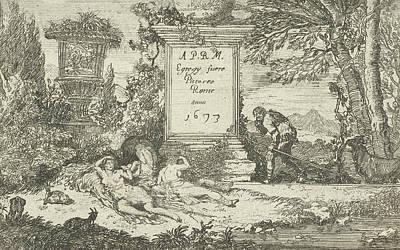 Sleeping Shepherdesses, Print Maker Unknown Poster by Adriaen Van Der Kabel