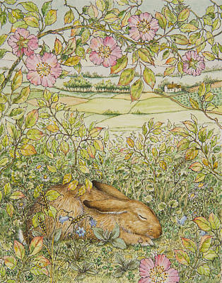 Sleepy Bunny Poster by Lynn Bywaters