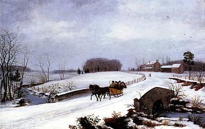 Sleigh In Winter Poster by Thomas Birch