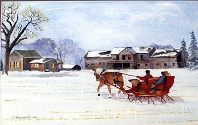 Poster featuring the painting Sleigh Ride by Susan Crossman Buscho