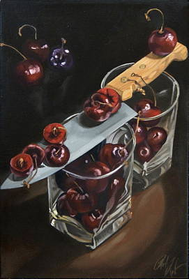 Sliced Black Cherries Poster