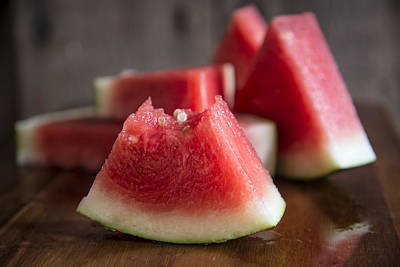 Sliced Juicy Watermelon On Wooden Chopping Board Poster