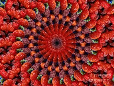 Sliced Strawberries Kaleidoscope Poster