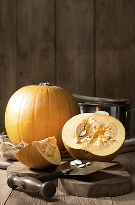 Slicing Pumpkins Poster by Amanda Elwell
