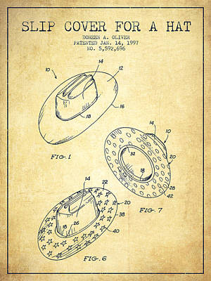 Slip Cover For A A Hat Patent From 1997 - Vintage Poster