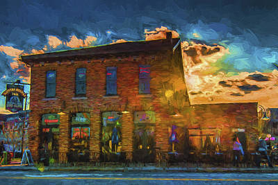 Slippery Noodle Inn Indianapolis Indiana Painted Digitally Poster by David Haskett