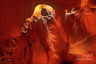 Poster featuring the photograph Slot Canyon Formations In Upper Antelope Canyon Arizona by Dave Welling