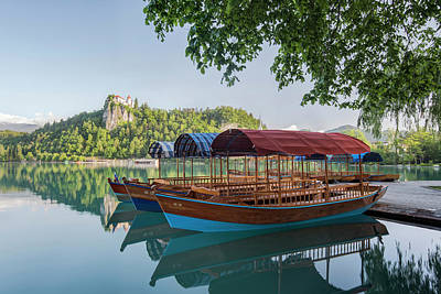 Slovenia, Bled, Lake Bled, Plenta Boats Poster by Rob Tilley