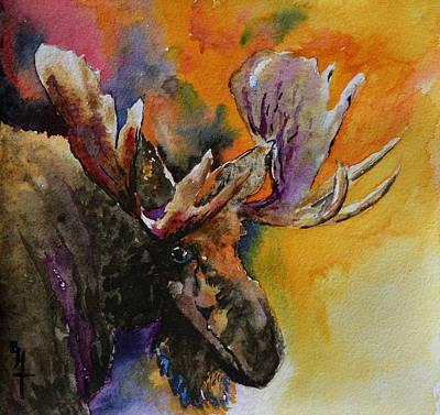 Sly Moose Poster by Beverley Harper Tinsley