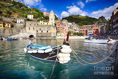 Small Boat In Vernazza Harbor Poster by George Oze