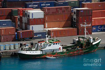 Small Boat With Cargo Containers Poster by Amy Cicconi