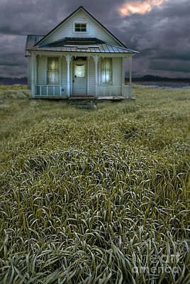 Small Cottage In Storm Poster by Jill Battaglia