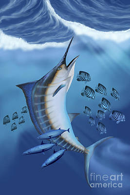Small Fish Scatter As A Huge Blue Poster by Corey Ford